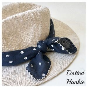 Accessories - Navy & White Polka Dot Handkerchief Scalloped Trim